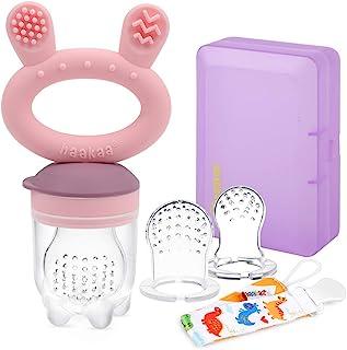 Haakaa 婴儿食品喂食器/水果喂食器安抚奶嘴硅胶婴儿喂食器适用于婴儿出牙玩具,适合 3 个月以上的宝宝,不含 BPA,带奶嘴夹和旅行盒(1 包,粉色)