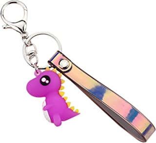PVC 钥匙链带恐龙吊坠钥匙圈,适用于钱包、手提包、钥匙装饰送给女孩女士的礼物