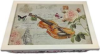 GMMH 乡村房屋 便携式餐盘 小提琴 竹子垫 折叠桌子 床上 托盘/早餐托盘/餐盘