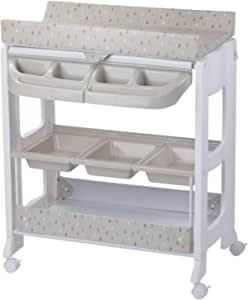 Safety 1st 尿布柜 & Dolphy,可移动 2 合 1 婴儿换尿布推车,内置浴缸和充足存储空间,暖灰色