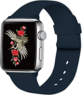 UPOLS 兼容 Apple Watch 表帶 38 毫米 / 40 毫米 42 毫米 / 44 毫米 S/M / L 軟硅膠運動表帶適用于男士和女士。表帶適用于 iWatch 系列 5 / 4 / 3 / 2 / 1