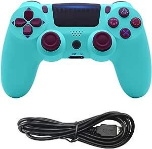 PS4 游戏控制器无线控制 PS4 - 操纵杆游戏手柄,适用于 Sony 索尼 Playstation 4,Dual Shock 4,遥控迷你 LED,USB 线,兼容 PS4/PS4 Pro/PS4 Slim/PC(浅蓝色)