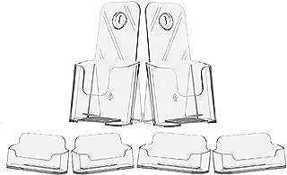 TAG 塑料 2 件装亚克力手册架,两个 4 x 9 英寸(约 10.2 x 22.9 厘米)文学架,透明亚克力台面收纳架传单支架,带 4 件装亚克力名片夹塑料显示屏