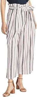 Rachel Roy 女式粉色束带条纹阔腿裤尺码 6