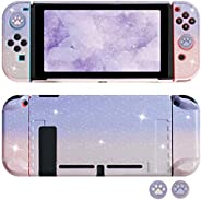FANPL 闪光保护套适用于 Nintendo Switch 和 Joy-Con 控制器的硬壳可插接保护套,带闪光猫爪拇指握把(渐变粉色和紫色)