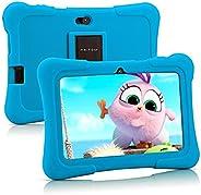 Pritom 7 英寸儿童平板电脑 | 四核安卓,1GB RAM + 16GB ROM | WiFi,蓝牙,双摄像头 | 教育,游戏,家长控制,儿童软件预安装儿童平板电脑保护套(浅蓝色)