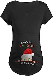 ManMan 幽默孕妇上衣衬衫趣味孕妇 T 恤长袖-宝宝*个圣诞节,酒红色 XL 码