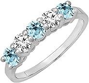 Dazzlingrock Collection 14K 女士 5 颗宝石新娘结婚戒指周年纪念戒指,白金