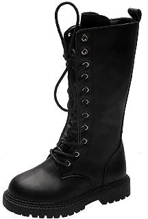 DAYISS 女童时尚系带侧拉链中筒战斗马靴礼服公主鞋女孩皮革冬靴
