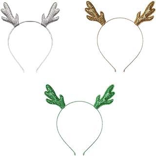 SUNTRADE 圣诞头带 闪光鹿角猫耳朵 适用于圣诞节假期角色扮演派对服装,3 件套