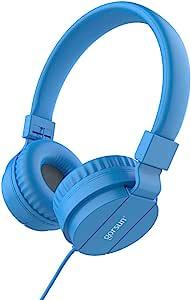 儿童耳机轻质立体声折叠有线耳机,适合儿童成人,可调节头带耳机,适用于手机,智能手机,iPhone 笔记本电脑,Mp3/4 耳机(蓝色)