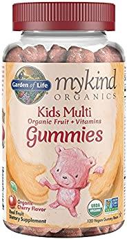 Garden of Life 生命花园 - mykind 儿童维生素软糖 - 樱桃 -素食儿童完整的多种维生素 - B12,C&D3 -无麸质,无大豆和乳制品 - 120粒真正的水果咀嚼软糖