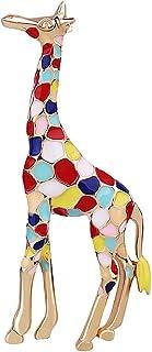 XUN Zhe 可爱动物长颈鹿胸针时尚彩色珐琅长颈鹿胸针领徽章服装首饰适合少女男孩