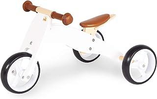Pinolino 迷你三轮车 Charlie 木制 4 种改装方式,鞍座高度 6 档可调,适合 1.5 岁以上的儿童,白色/自然色