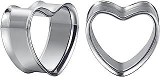 COOEAR 1 对不锈钢耳规 心形耳洞塞子 肉质拉伸器 扩展器 0 克至 1 英寸。