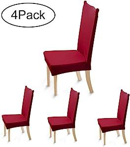 Ruili Inc 弹性餐厅椅套氨纶弹性可拆卸水洗纯色宴会椅座椅保护套适用于婚礼*店家庭聚会典礼 *红色