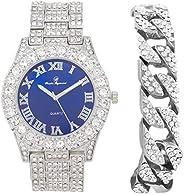 男式银大岩表圈宝蓝色表盘罗马数字全冰手表腕表 带/古巴手链 - 皇家蓝/银色 - ST10327C