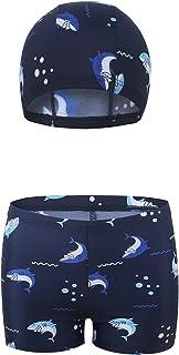 Rixin 男婴游泳裤短裤带帽男童 2 件套泳装套装 2-8 岁
