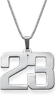 MyNameNecklace 男士个性化珠宝定制数字吊坠项链 925 纯银