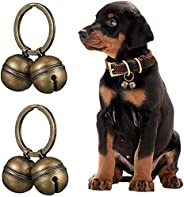 2 弦 4 件狗和猫铃铛,宠物追踪器黄铜铃铛,带宠物项圈项链,青铜