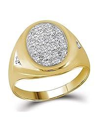 Dazzlingrock 系列 10kt 黄金男士圆形爪镶钻石椭圆形簇镶戒指 1/4 ctw