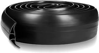 地板电线盖过地板电线保护器 弹性 3 线电线电线盖地板线隐藏灵活 PVC 电缆盖黑色电源线保护器适用于家庭办公室户外(10 英尺)
