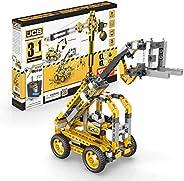 Engino JCB Toys 高起重机 电动 3 合 1   构建 3 个标志性的 JCB 模型   创意杆工程套件