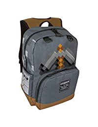 "JINX Minecraft Pickaxe Adventure 儿童书包,深灰色,17"""