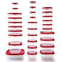 Rubbermaid 透氣蓋食品保鮮盒,一套30個(60件總共),賽車紅