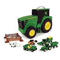 TOMY John Deere 耐用儿童汽车玩具套装 带拖拉机形状的便携式手提箱