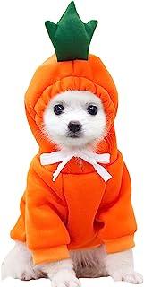 XIAOYU 小狗连帽衫猫连帽衫宠物衣服时尚水果运动衫适合狗狗猫小号中号宠物,胡萝卜色,L 码