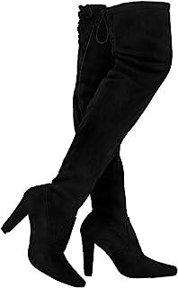TYFLOVE 女式过膝靴时尚麂皮粗跟鞋性感系带过膝靴