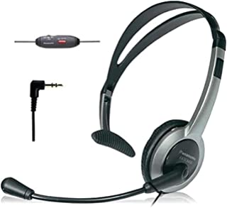Panasonic 松下电器 KX-TCA430舒适贴合可折叠耳机,带有可消除噪音的麦克风和音量控制,常规,灰色/银色