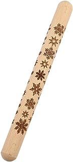 Amosfun 圣诞木制擀面杖压花擀面杖 圣诞雪花图案 适用于烘焙压花饼干擀面杖厨房工具