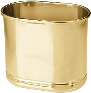 mDesign 超薄椭圆形金属垃圾桶,小垃圾桶,浴室,化妆室,厨房,家庭办公室垃圾桶 - 软黄铜