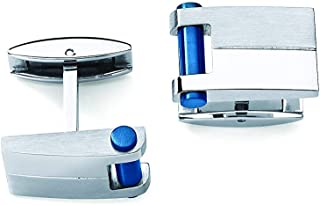 Men's Stainless Steel Cuff Links With Blue Bar Accent