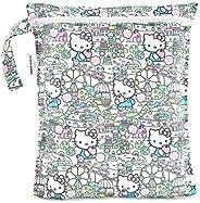 Bumkins Hello Kitty 防水袋,可水洗,可重复使用,可用于海滩,游泳池,婴儿推车,尿布,脏运动服,湿泳衣,化妆品,电子产品,玩具,12x14