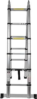 12.5FT/3.8M 多功能铝折叠梯子可折叠轻质脚架梯子适用于家居/建筑维护