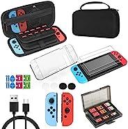 Nintendo Switch 配件套件和保护套,18 合 1 配件包包括硬壳手提箱、玻璃屏幕保护膜、透明外壳、拇指抓握盖、游戏卡盒、USB 充电线