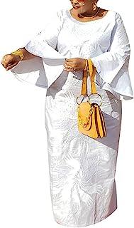 H D Bazin Riche 服装,非洲传统服装刺绣图案,宽松袖,Dashiki 连衣裙