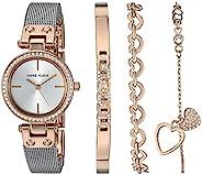 Anne Klein 女式施华洛世奇水晶点缀玫瑰金色银色网眼手表和手链套装,AK/3425RTST