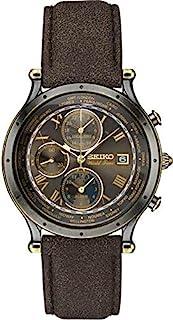 SEIKO 精工 男士必备 金色日本石英皮革小牛皮表带 棕色 0 休闲手表 (型号:SPL062)