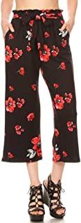 Shosho 女式纸袋腰部七分裤休闲阔腿带口袋