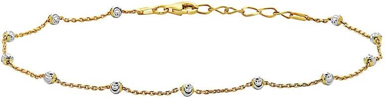 Pori Jewelers 标准纯银米月亮切割球形珠脚链 - 女式 - 鹦鹉锁扣 - 意大利制造 - 多种颜色和链子款式可选
