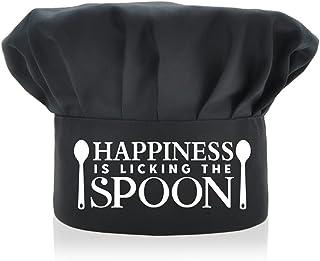AGMdesign 趣味厨师帽,Happiness is Licking The Spoon,可调节厨房烹饪帽子男女黑色,母亲节/父亲节/生日礼物送给他、她、妈妈、爸爸、朋友
