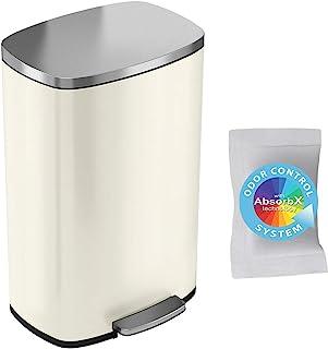 iTouchless SoftStep 13.2 加仑不锈钢脚踏垃圾桶,带气味控制系统,50 升垃圾桶,适用于厨房、办公室、家居 - 静音温和开合,象牙白