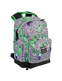 JINX Minecraft Overworld 全身儿童学校背包,灰色,17 英寸(约 43.2 厘米)