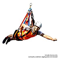 Fusion Super Ripper Zipline Harness without Hardware, Black/Orange