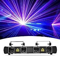 DJ 灯,BSYUN * 3 版 4 镜头 RGBY 声控 DJ LED 投影仪派对灯兼容 DMX512 控制器,适用于生日迪斯科舞活动秀(BYSUN 4 镜头)