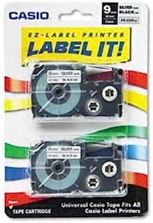 """Tape Cassettes for KL Label Makers, 9mm x 26ft, Black on Silver, 2/Pack"""
